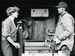 Chellie Pingree talks with North Haven boatyard owner Foy Brown, 1996.