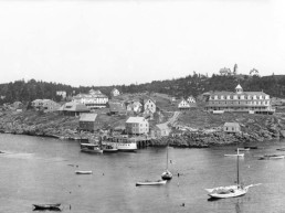 black and white photo of view of Monhegan from Manana