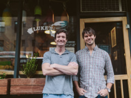 Luke Holden, left, and Ben Conniff photographed in front of restaurant