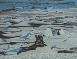 oil painting of person digging for clams through broken ice