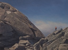 oil painting of people standing on large rocks