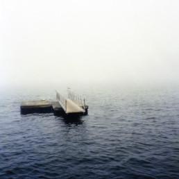 dock on water in fog