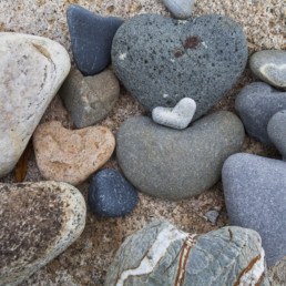 small heart-shaped pebbles
