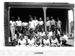 old black and white image of campers