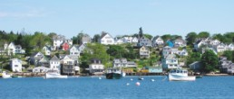 landscape of houses in Stonington, ME