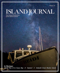 Island Journal magazine cover featuring lobsterboat shot in front of milky way