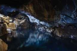 lake inside cave in Iceland