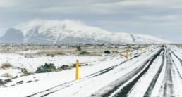 snowy roads in Iceland