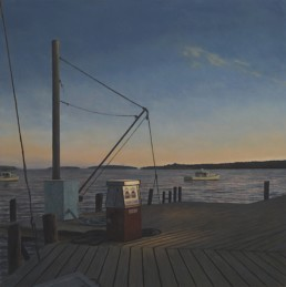 oil painting of fishing wharf at dawn