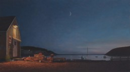 oil painting of wharf at night