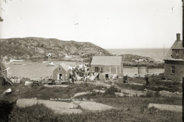old photo of houses on island