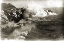 old photo of crashing ocean waves