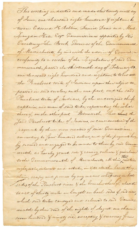 Treaty Between Massachusetts and the Penobscot Nation