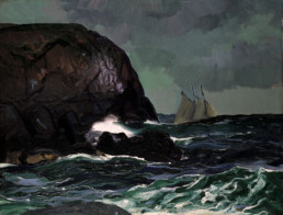 oil painting night scene of waves crashing against large rock, ship in distance