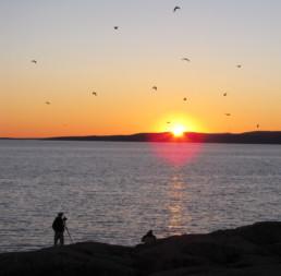 photographer shooting sunset over ocean