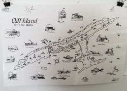 illustrated map of Cliff Island Maine