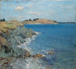impressionist style oil painting of rocky coastline