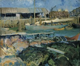 impressionist style oil painting of fish wharf