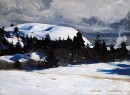 oil painting of snowy coastal landscape