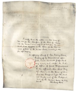 old document, An Act of Admission of the State of Maine into the Union