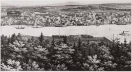 black and white 1859 painting of bucksport village maine