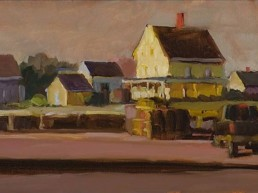 oil painting of houses