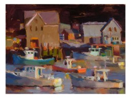abstract colorful oil painting of houses and lobsterboats in harbor