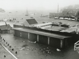 old photo of hurricane damage shot from above