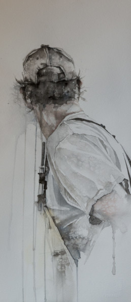 watercolor painting of man in waders