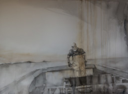 watercolor painting of man in back of lobsterboat