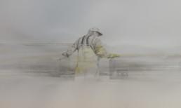 illustration of man in waders looking away