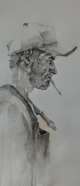 watercolor painting of side profile of man smoking cigarette