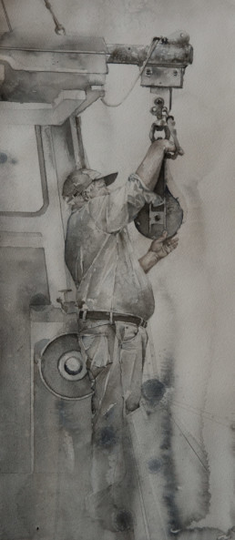 watercolor painting of man on fishing boat
