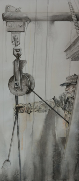 watercolor painting of man working on fishing boat