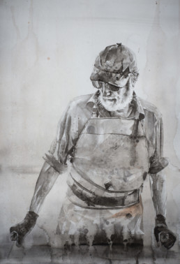 watercolor painting of man