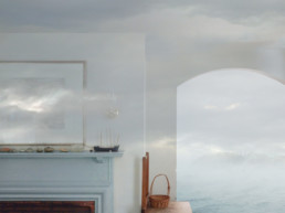 photo collage of doorway in house with ocean outside