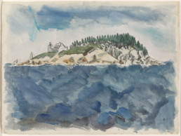 watercolor painting of small island with lighthouse