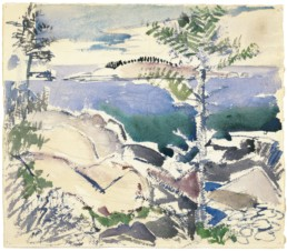 watercolor painting of rocks and trees on coastline