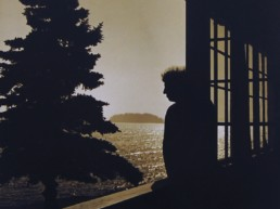 silhouette of man leaning on railing overlooking ocean