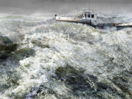 mixed media image of fishing boat in rough ocean